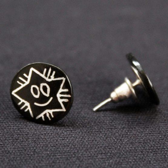 Bidriware Silver Ear Studs 3