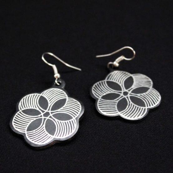 Bidriware Silver Inlay Earrings Online 3