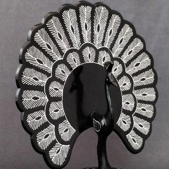 Bidriware Silver Inlay Peafowl 4