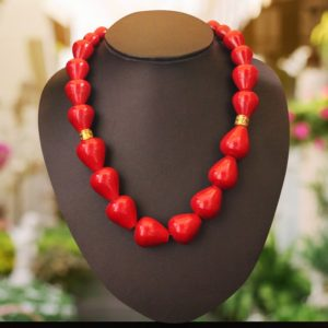 Channapatna Wooden Red Bead Necklace 1