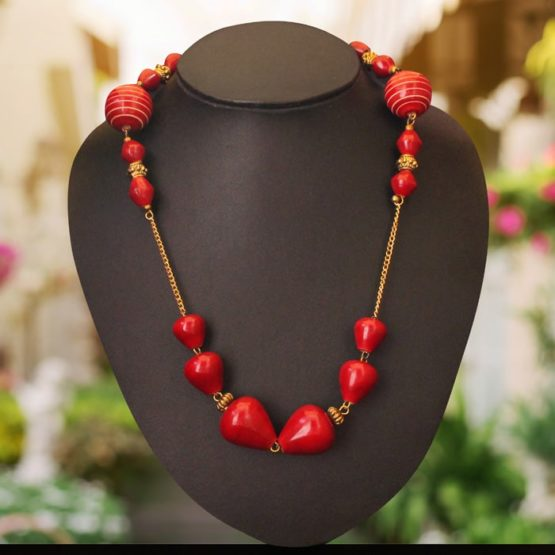 Wooden Red Beads Necklace 1