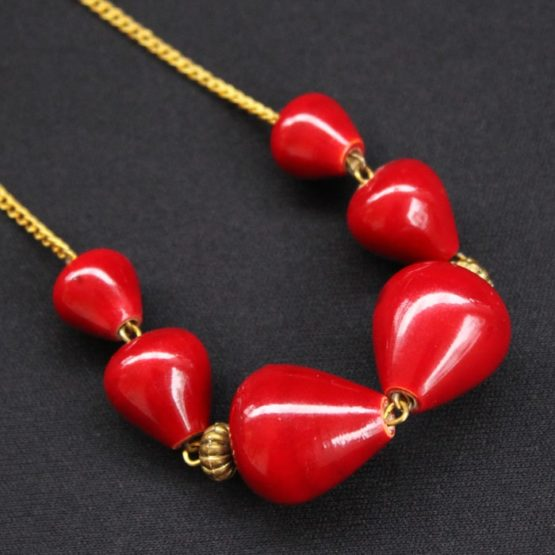 Wooden Red Beads Necklace 3