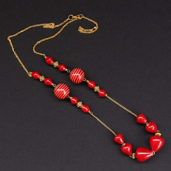 Wooden Red Beads Necklace 4