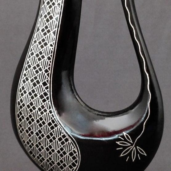 Bidriware Silver Inlay Floral Vase 3