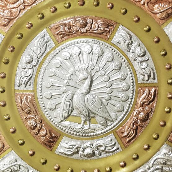 GiTAGGED Peacock Tri-Metal Thanjavur Art Plate Online (1)
