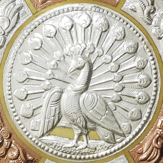 GiTAGGED Peacock Tri-Metal Thanjavur Art Plate Online (2)