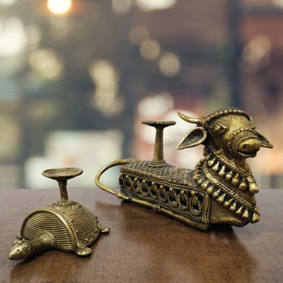 Bastar Dhokra Tortoise & Nandi Candle Stand Combo 1