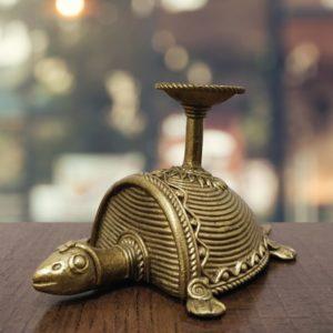 Bastar Dhokra Tortoise & Nandi Candle Stand Combo 2