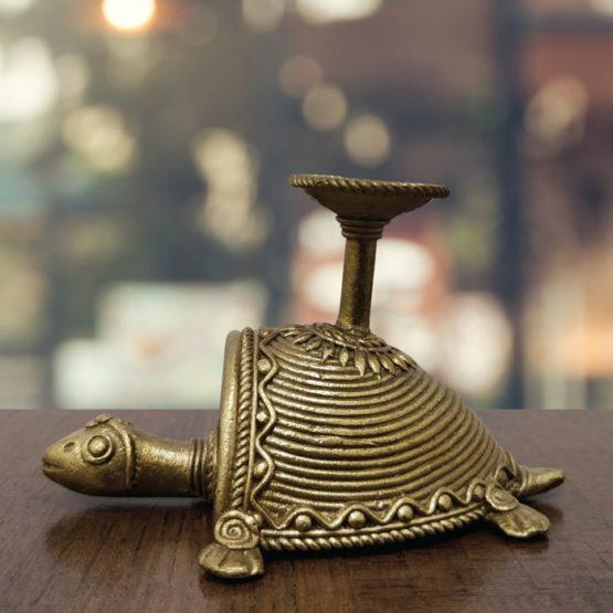 Bastar Dhokra Tortoise & Nandi Candle Stand Combo 5