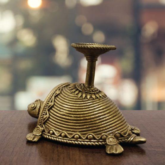 Bastar Dhokra Tortoise & Nandi Candle Stand Combo 7