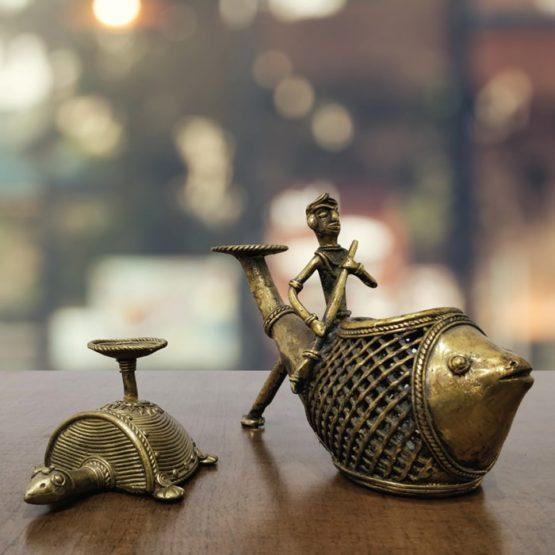 Bastar Dhokra Tortoise Paper Weight & Fish Pen Stand Combo Art - GiTAGGED 1