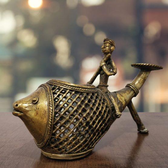 Bastar Dhokra Tortoise Paper Weight & Fish Pen Stand Combo Art - GiTAGGED 3