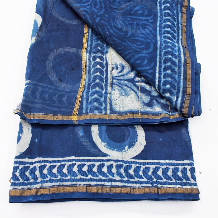 Buy Bagru Dabu Indigo Batik Hand Block Printed Cotton Silk
