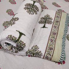 Sanganer hand block quilt blanket