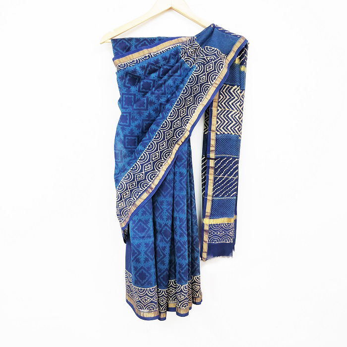 277b2216c29f68 Buy Bagru Dabu Indigo Floral Hand Block Printed Cotton Silk Saree Online