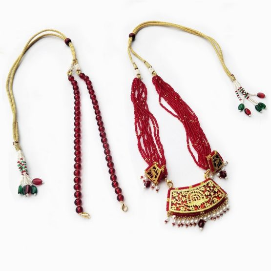 thewa art red bead jewellery
