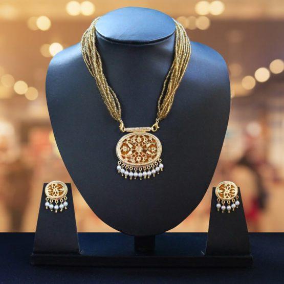 Orange Traditional Gold Jewellery Set 1