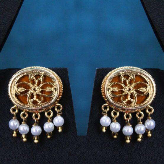 Orange Traditional Gold Jewellery Set 2
