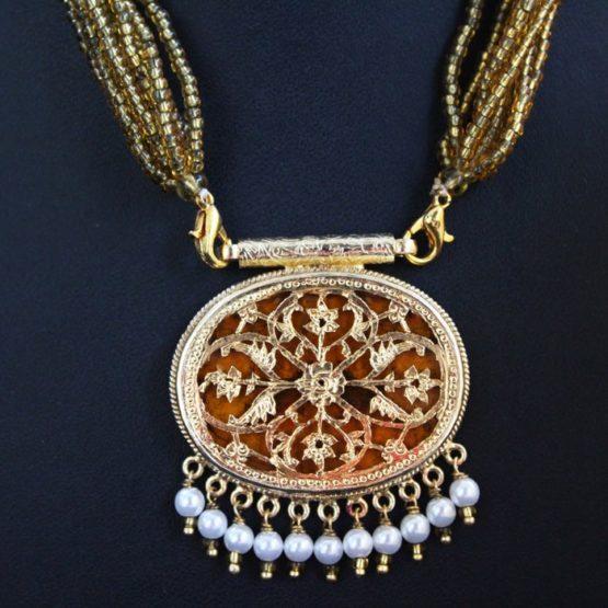 Orange Traditional Gold Jewellery Set 3