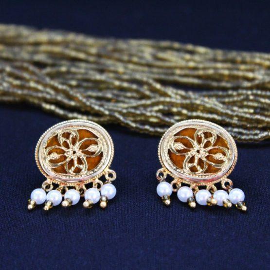 Orange Traditional Gold Jewellery Set 4