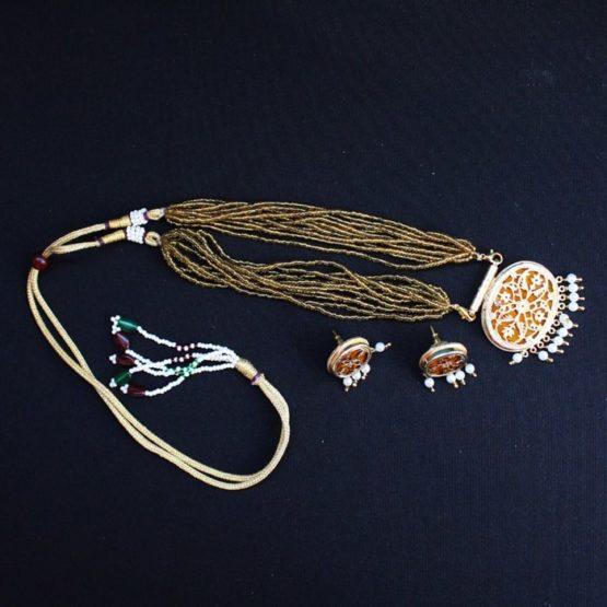 Orange Traditional Gold Jewellery Set 5