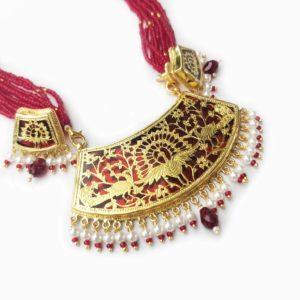thewa art red jewellery set