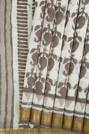 Bagru Handblock print chanderi cotton silk saree