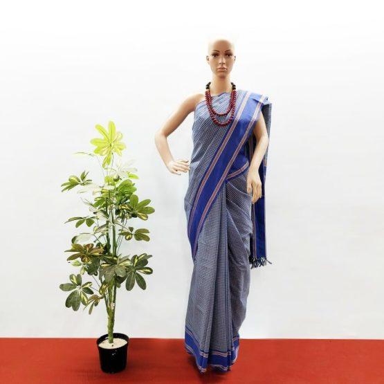 GiTAGGED Udupi Blue-Green Small Checks Pure Cotton Saree 1