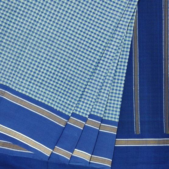 GiTAGGED Udupi Blue-Green Small Checks Pure Cotton Saree 2