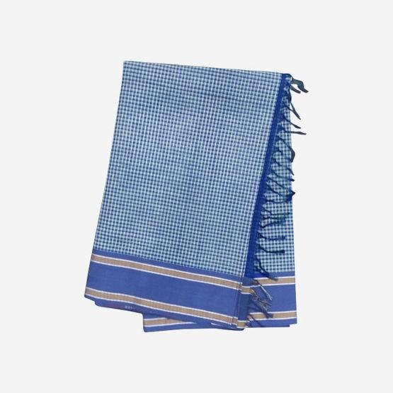 GiTAGGED Udupi Blue-Green Small Checks Pure Cotton Saree 4