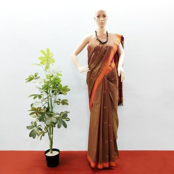 GiTAGGED Udupi Brown with Butta Pure Cotton Saree 1