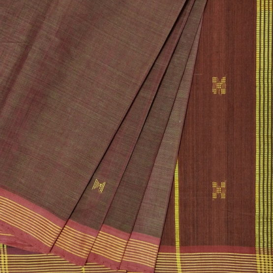 GiTAGGED Udupi Brown with Butta Pure Cotton Saree 2