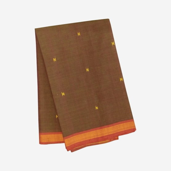 GiTAGGED Udupi Brown with Butta Pure Cotton Saree 4