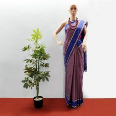 GiTAGGED Udupi Pickle Blue-Brown Small Checks Pure Cotton Saree 1