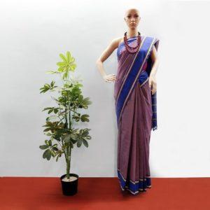GiTAGGED Udupi Pickle Blue-Brown Small Checks Pure Cotton Saree 1