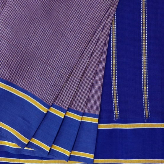 GiTAGGED Udupi Pickle Blue-Brown Small Checks Pure Cotton Saree 2