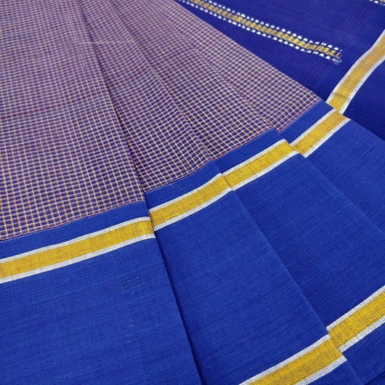 GiTAGGED Udupi Pickle Blue-Brown Small Checks Pure Cotton Saree 3