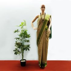GiTAGGED Udupi Pickle Green Small Checks Pure Cotton Saree 1