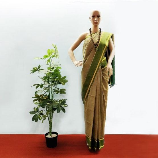 GiTAGGED Udupi Pickle Green Small Checks Pure Cotton Saree 1