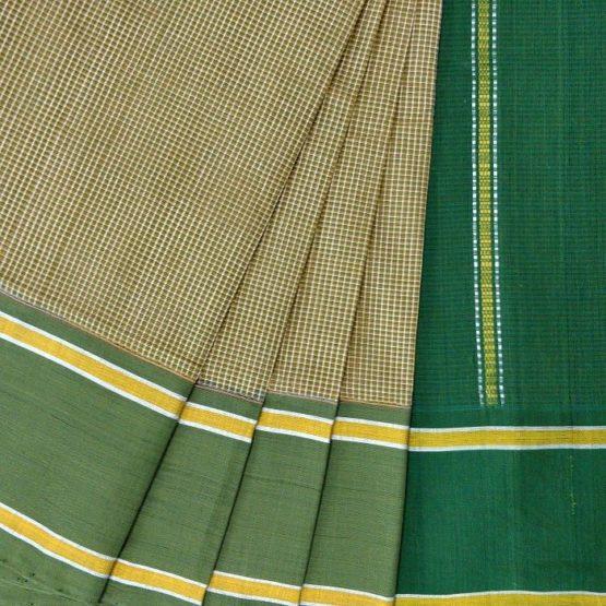 GiTAGGED Udupi Pickle Green Small Checks Pure Cotton Saree 2