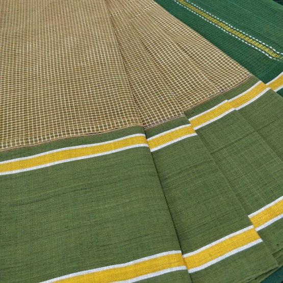 GiTAGGED Udupi Pickle Green Small Checks Pure Cotton Saree 3
