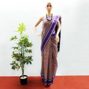 GiTAGGED Udupi Purple with yellow small checks Pure Cotton Saree 1