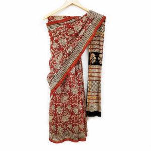 sanganer block print cotton saree
