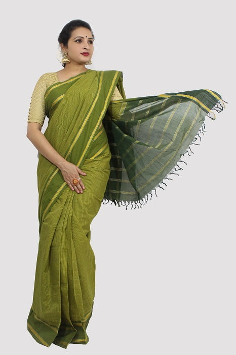 Udupi Pickle Green Small Checks Pure Cotton Saree A1