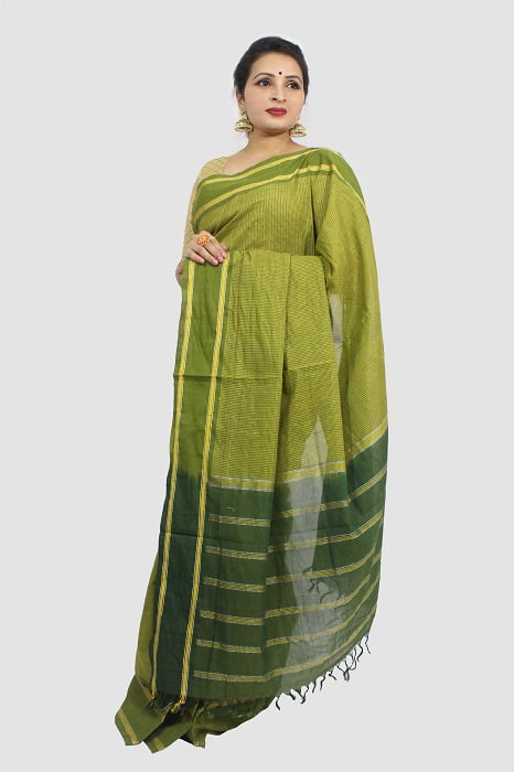Udupi Pickle Green Small Checks Pure Cotton Saree A2