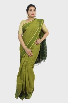 Udupi Pickle Green Small Checks Pure Cotton Saree A3
