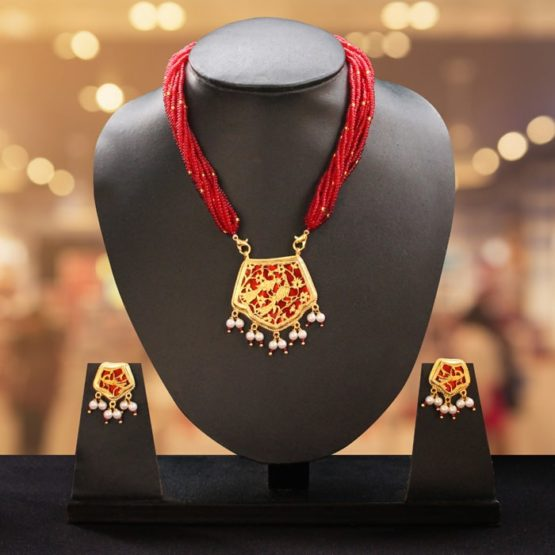 traditional thewa gold jewellery set online 1