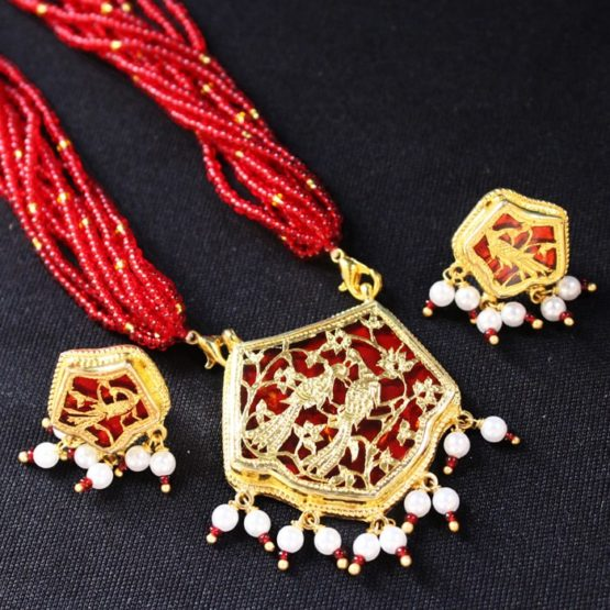 traditional thewa gold jewellery set online 5