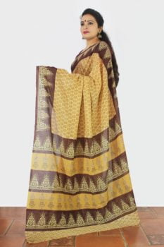 Haldi Floral Enclosed Machilipatnam Kalamkari Saree 2
