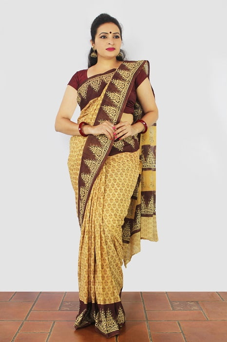 Haldi Floral Enclosed Machilipatnam Kalamkari Saree 3